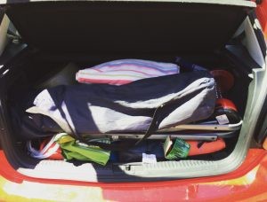 The car all packed up.