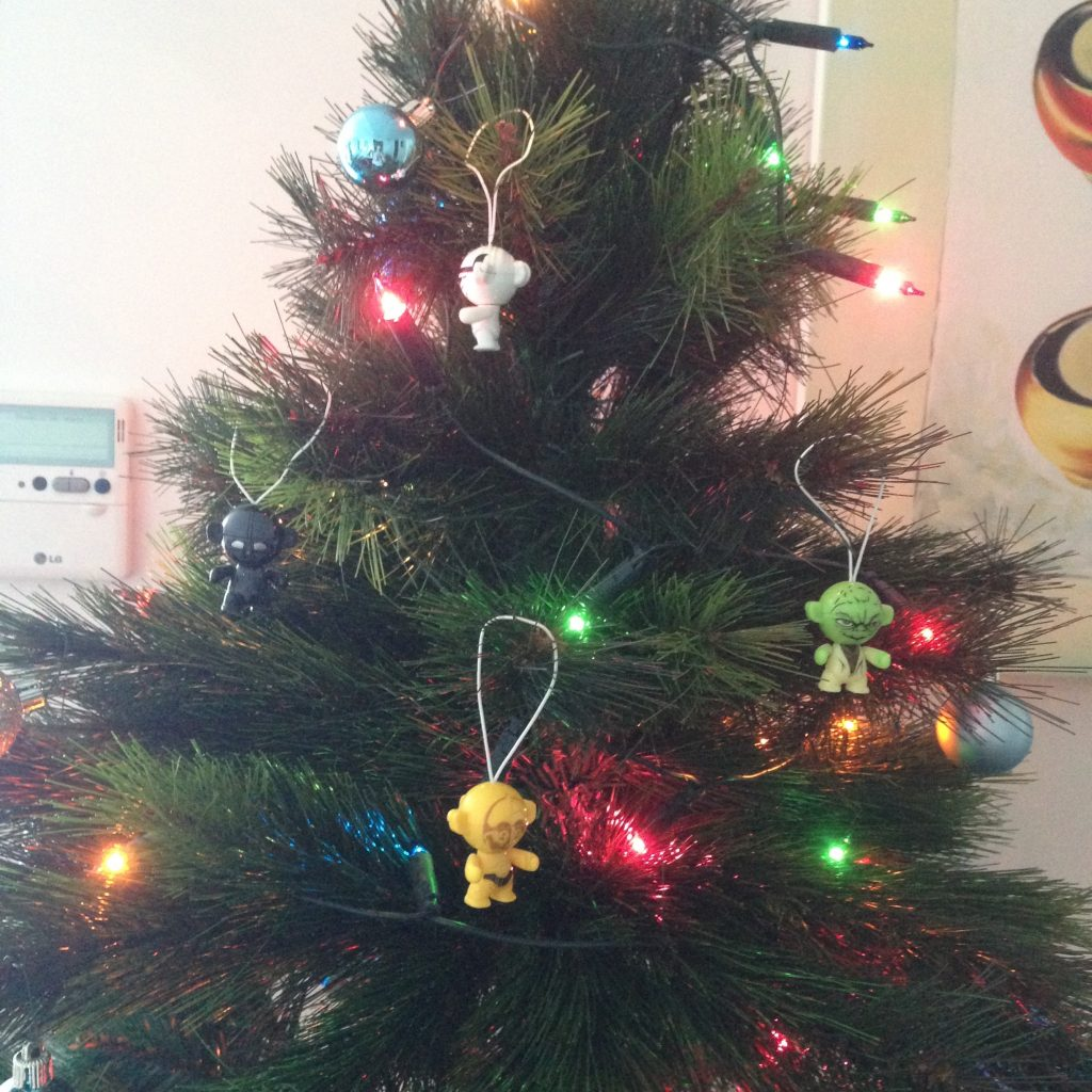 A close up of our tree with the Star Wars ornaments I brought to the relationship.